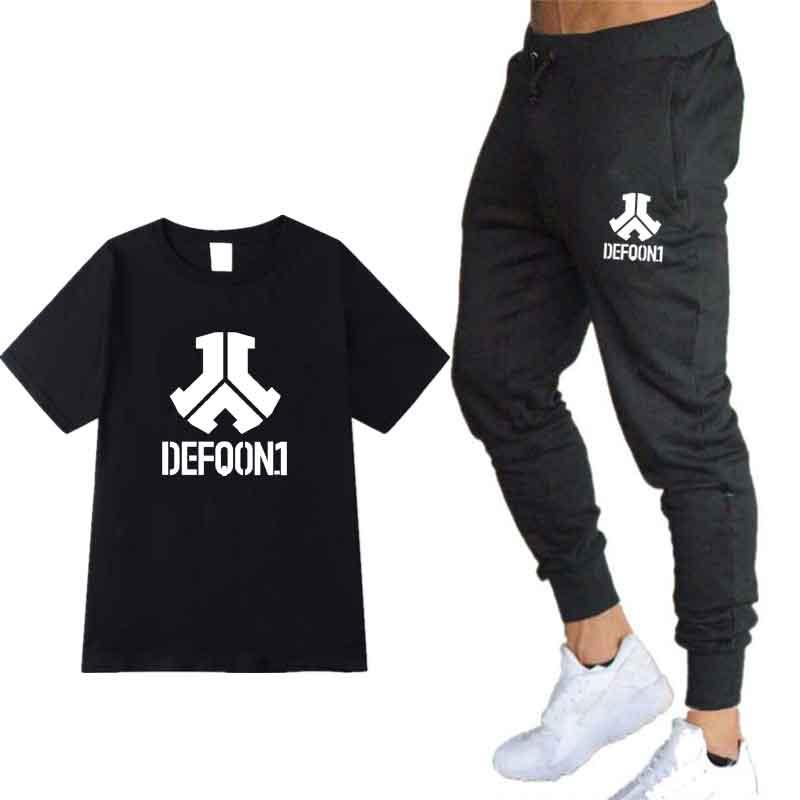 2020 New Defqon 1 Pure Cotton Designer T Shirt+ Sports Pants Hip Hop Mens Short Sleeved T-shirts Fashion Trend Men's T-Blood Set