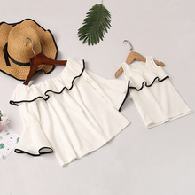 2019 European And American-Style Family Fitted Children's Clothing Women's off-Shoulder Flounced Bell Sleeve Top Mother-daughter