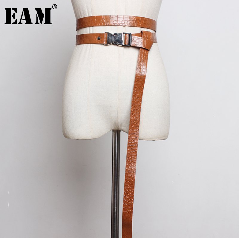 [EAM]  Pu Leather Buckle Multicolor Long Wide Belt Personality Women New Fashion Tide All-match Spring Autumn 2020 1H361
