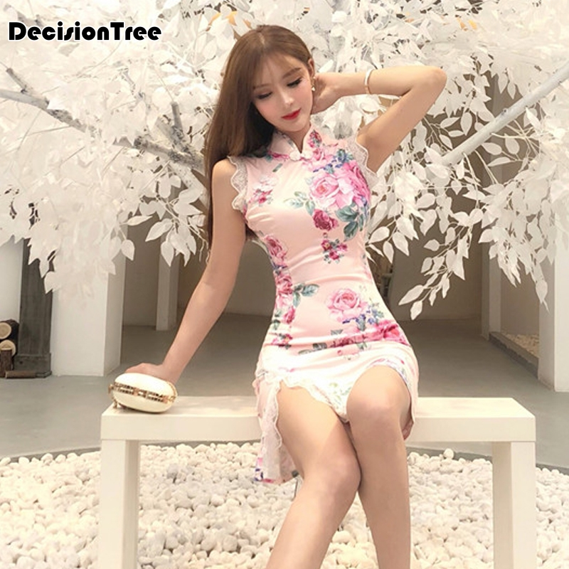 2020 Sexy Chinese Dress Chinese Pink Qipao Oriental Styled Dresses Satin Chinese Style Modern Cheongsam Oriental Printing Dress