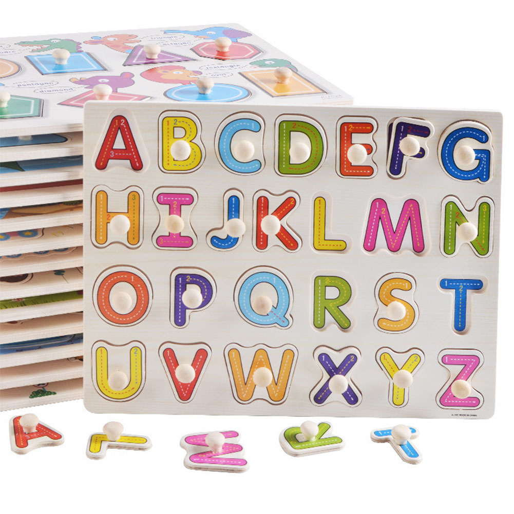 Fun Children Gift Letter Number Preschool Brain Teaser Enlightenment Vehicle Baby Educational Toy Cartoon Wooden Hand Grab Board