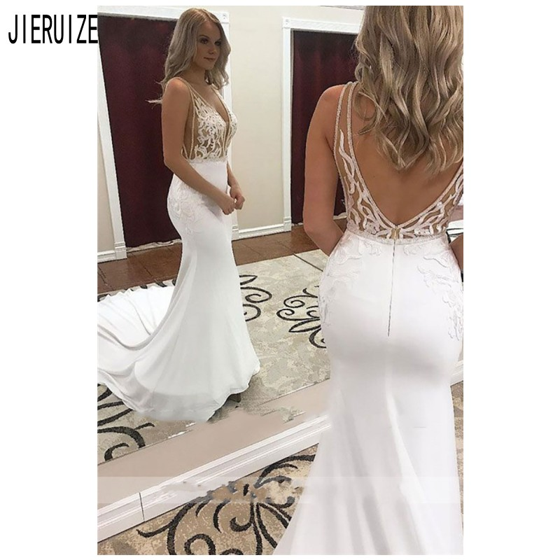 JIERUIZE Boho Mermaid Wedding Dresses V Neck Backless Lace Appliques Sexy Sleeveless Bridal Gowns Vestido De Novia Bride Dresses