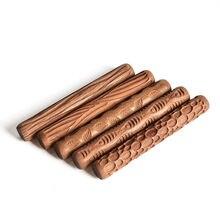 5 pçs ferramentas de cerâmica escultura em madeira cerâmica textura de madeira rolo lama em relevo padrão gravado haste lama rolo
