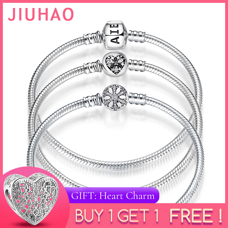 New 925 Sterling Silver Bracelets Round shape Snake Chain For Womens Accessories Fashion Jewelry Valentine's Mother's Day gift(China)