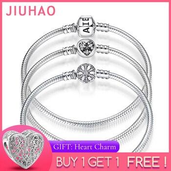 Nuevas pulseras de plata de ley 925 Cadena de serpiente de forma redonda para mujer accesorios joyería de moda regalo del Día de la madre de San Valentín