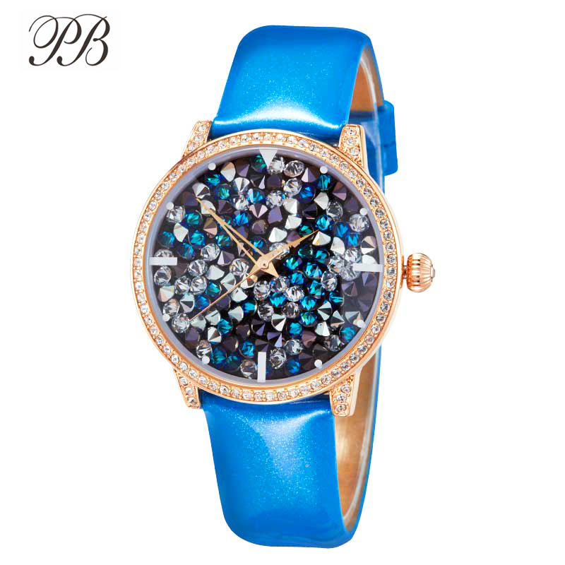 PB Watches Women Starry Sky Dial Crystal Shining Watch Women Blue Leather Strap Quartz Waterproof Luxury Relógio Feminino