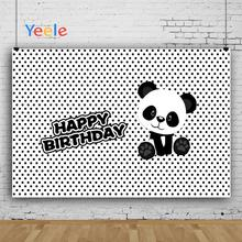 Yeele Panda Party Footprint Photocall Baby Birthday Photography Backgrounds Customized Photographic Backdrops for Photo Studio