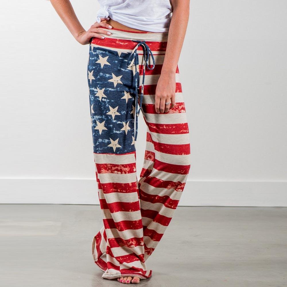 Celana Panjang Wanita Musim Panas Celana Fashion Bendera Amerika Lebar Kaki Longgar Longgar Celana Nyaman Lebar Kaki 2019 Pantalones Mujer Celana Pendek Dan Celana Kapri Aliexpress
