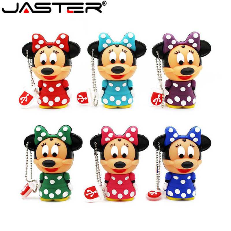 JASTER Cute Mickey Minnie Mouse USB Flash Drive Pendrive 4GB 8GB 16GB USB Stick External Memory Storage Pen Drive 6 Colors