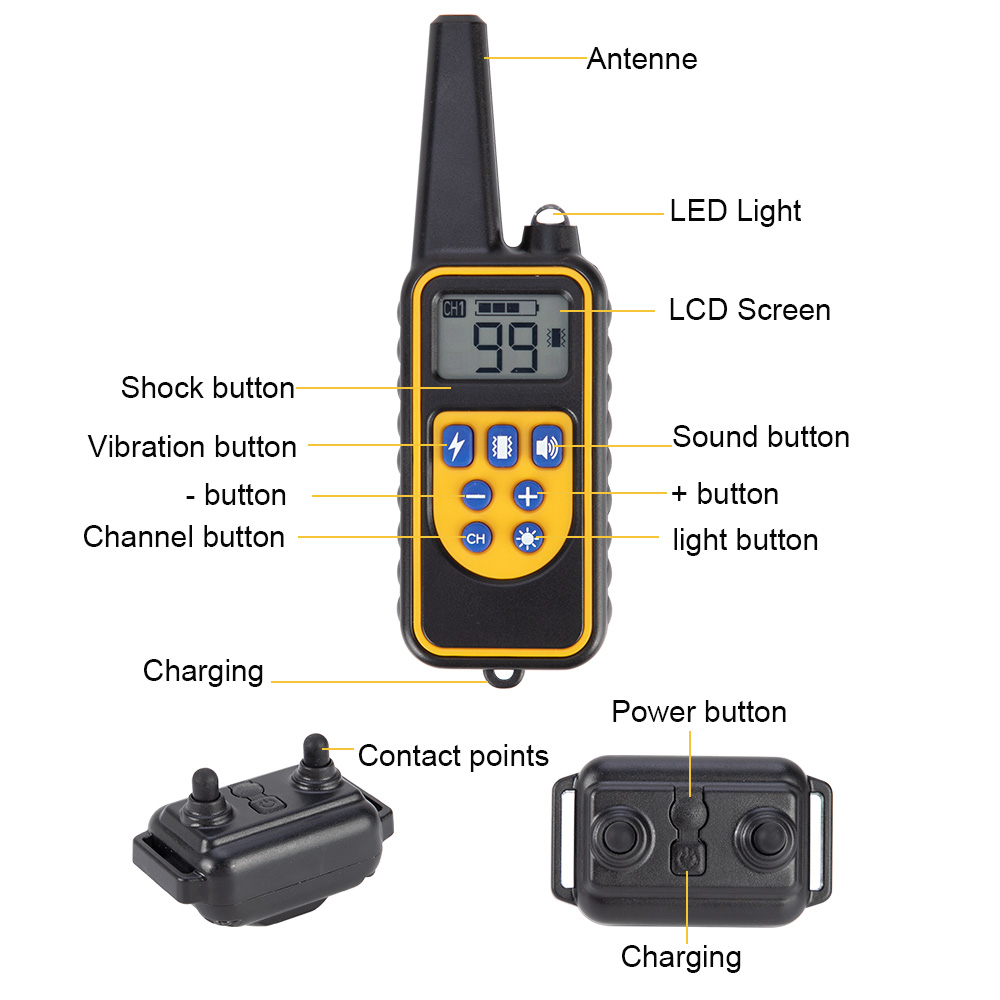 800m Electric Dog Training Collar Pet Remote Control Waterproof Rechargeable with LCD Display for All Size Shock Vibration Sound 2