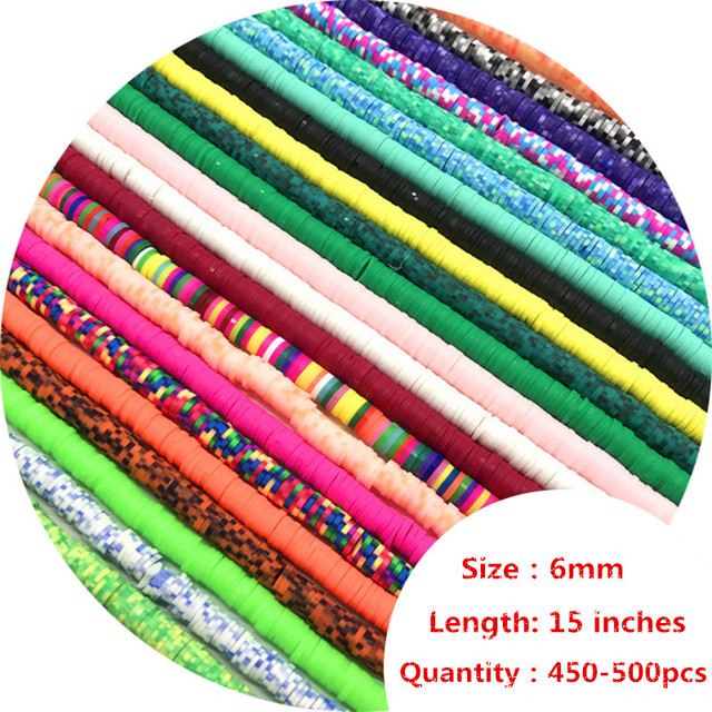 16Inch About 450-500pcs 6mm Flat Round Polymer Clay Beads Chip Disk Loose Spacer Handmade Beads For DIY Jewelry Making Bracelet