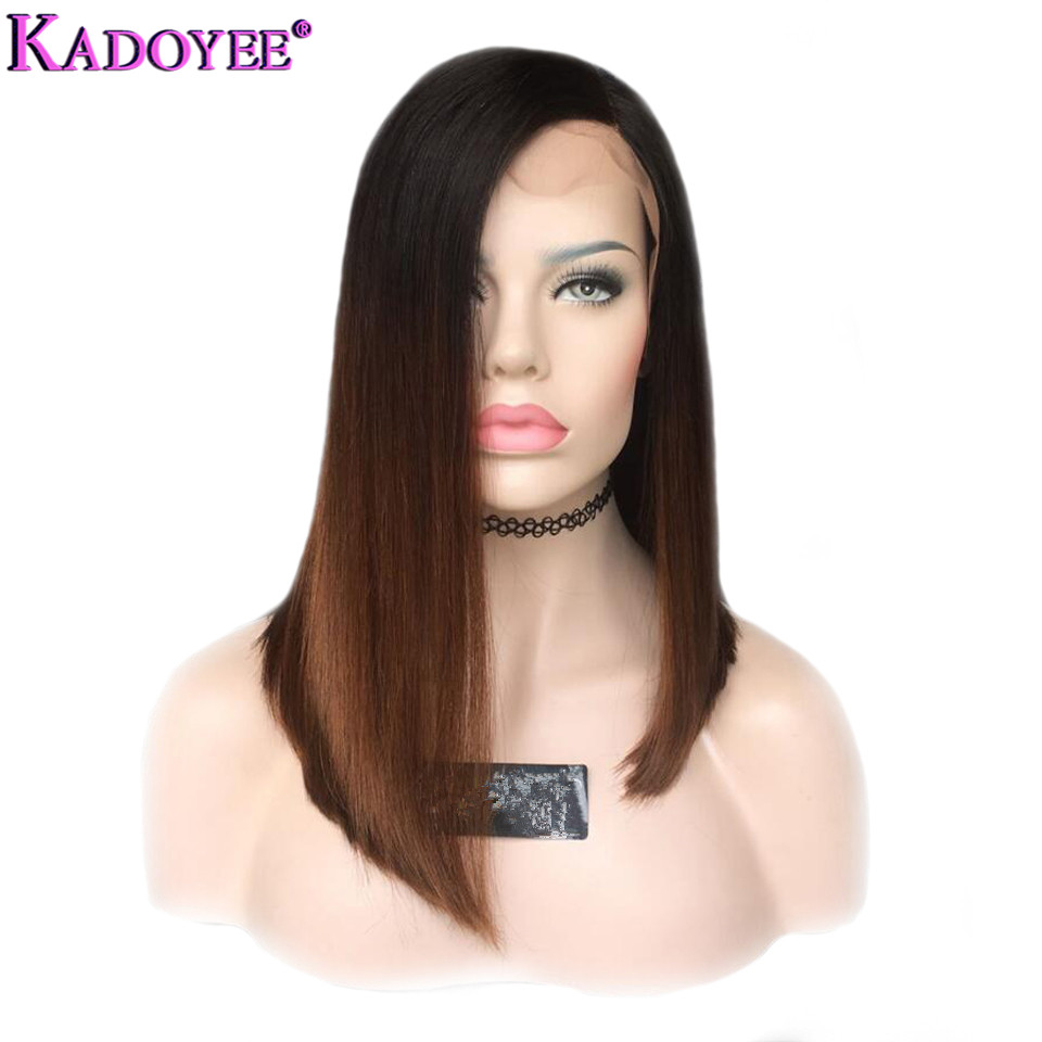 Short Bob Lace Front Wigs Brazilian Remy Hair Side Part Straight Pre Plucked Bleached Knots Human Hair Wig Ombre Color For Women-in Human Hair Lace Wigs from Hair Extensions & Wigs    1