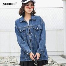 NEEDBO Denim Jacket Oversize Women Casual Coat Autumn Outwear Female Woman Veste Jeans Summer Jaqueta