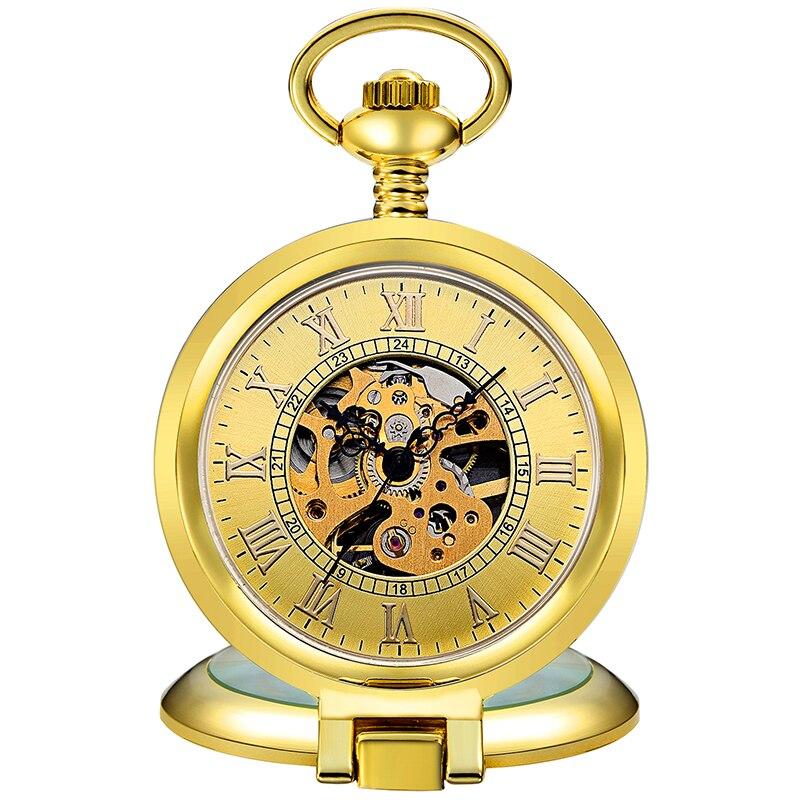 Vintage Mechanical Pocket Watch Skeleton Steampunk Pendant Fob Chain for Men Roman Numeral Antique Gold Male Man Montre de poche