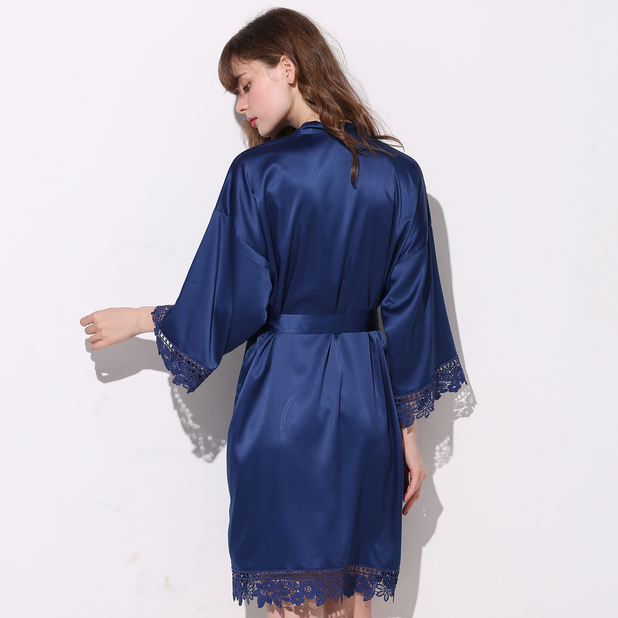 Silky Women Lace Bath Robe Matt Satin Bride Bridesmaid with Lace Robe Bridal Robes Wedding Party Gifts Bathrobe Dress Navy Blue in Robes from Underwear Sleepwears