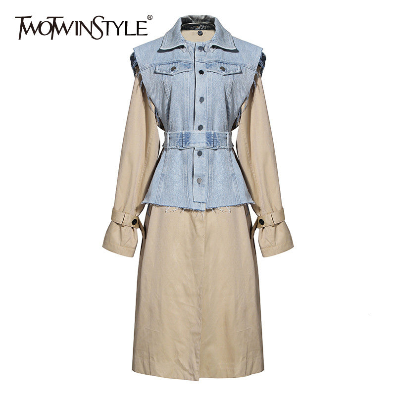 TWOTWINSTYLE Hit Color Two Piece Sets Female Lapel Collar Sleeveless Tunic Denim Vest O Neck Long Sleeve Coat Casual Suits Women