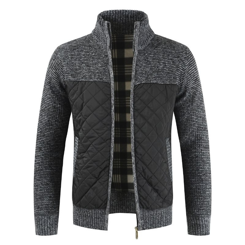 Men's Wool Cardigan Mandarin Collar Patchwork Autumn Winter Warm Thick Long Sleeve Coat Knitted Cotton Casual Male Sweater Pull