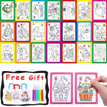 20Pcs/lot Art Doodle Pad DIY Color graffiti Painting Cards Early Educational Learning Creative Drawing Toys for Children YJN
