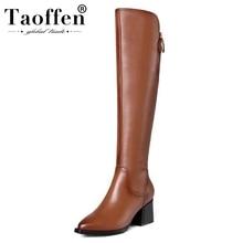 Taoffen kadın diz yüksek çizmeler hakiki deri ayakkabı kadınlar kış sıcak kalın yüksek topuk çizmeler seksi fermuar kürk ayakkabı boyutu 34  42