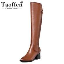 Taoffen נשים הברך גבוהה מגפי עור אמיתי נעלי נשים חורף חם עבה עקב גבוהה מגפיים סקסי רוכסן פרווה נעלי גודל 34 42