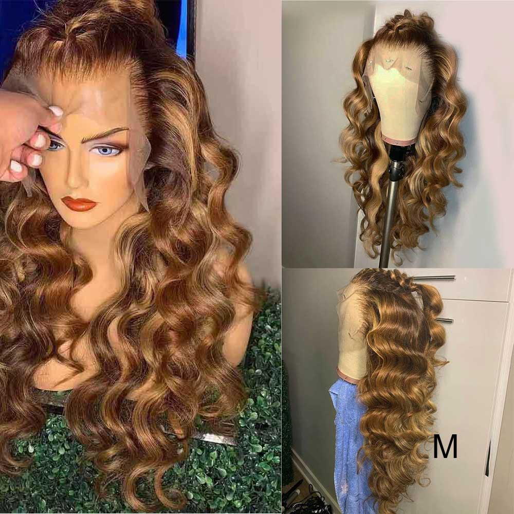 Highlight 13x6 Deep Part Lace Front Human Hair Wig Pre Plucked Remy  Loose Wave Ombre Colored HD Transparent Invisible Lace Wig