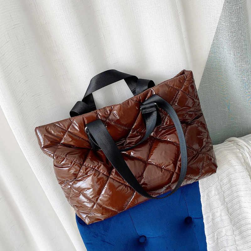 Novo inverno bolsa de ombro espaço bale bolsa mulher casual espaço algodão totes saco para baixo pena acolchoado macio senhoras crossbody saco