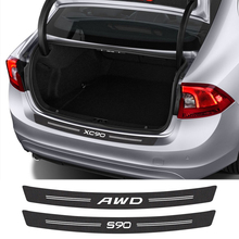 Car Rear Bumper Trunk Guard Carbon Fiber Sticker For Volvo T6 S60 S90 XC40 XC60 XC90 V40 V50 V60  V90 AWD Car Custom Accessories