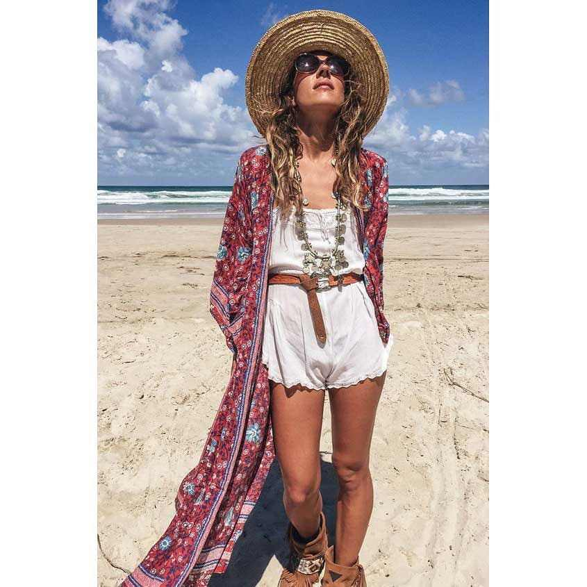 Swim wear Casual dress Chic Summer Long One size Gifts for her Kimono dress Hand made Beach Robe Elegant Frenchy