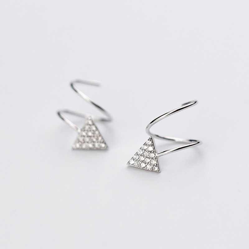 Trusta 100% 925 пробы серебряные женские звезды сердце треугольник уха кости уха пряжки кольцо плотно Упакованные мини двойное кольцо серьги