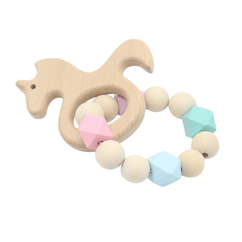 Baby Teether Rodent Bracelet Molar Stick Non Toxic Silicone Bite Stick Cute Cartoon Pattern Toy Baby Gym Wood New