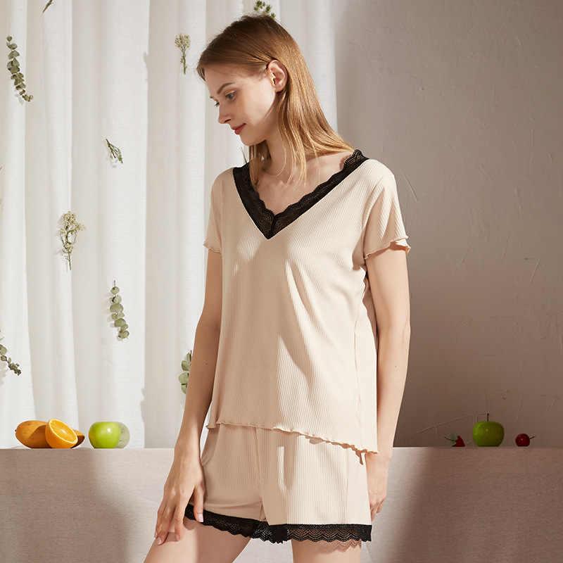 Teinte pour femme gris col V à manches courtes Pyjama Top