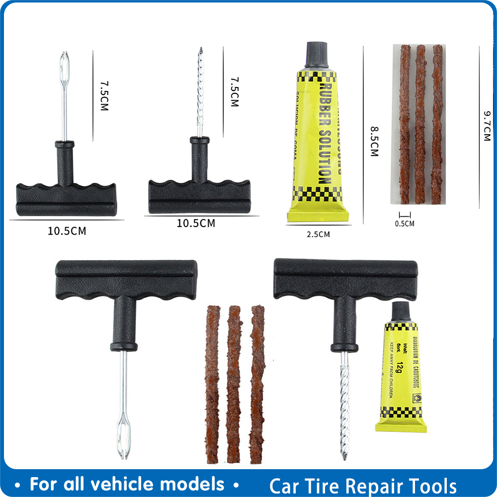 Car Tire Repair Tools Tubeless Tyre Puncture Repair Plug Kit Needle Patch Fix Tool Cement Useful Sets Auto Tire Repair Tools