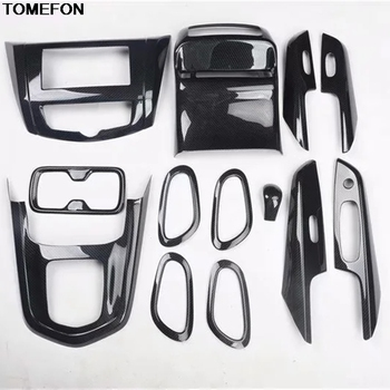 TOMEFON For For Nissan Terra 2018 ABS Carbon Fiber Inner Door Handle Window Switch Gear Shift Panel Interior Trim image