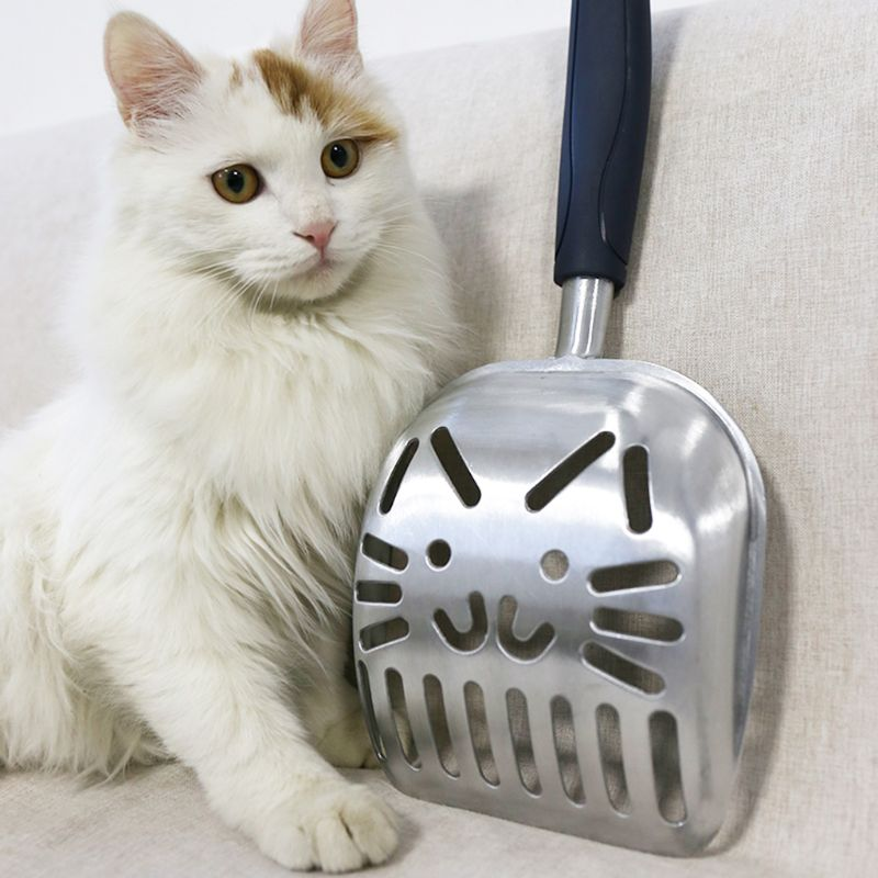 Metal Cat Litter Scoop Cat-Shape Sifter Pet Dog Litter Shovel With Rubber Handle C63B