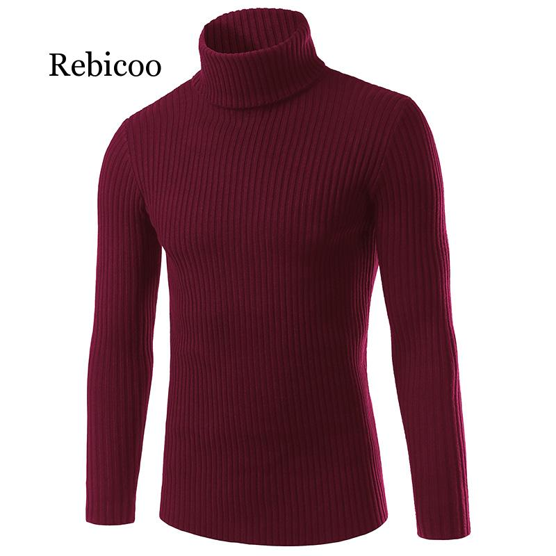 2019 Autumn And Winter Fashion Casual Men's Sweater Slim Slimming Men's High Collar Brand Knitted Pullover M-3XL