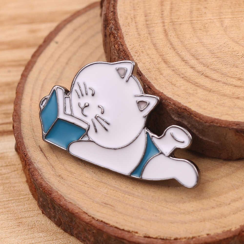 Lucu Kartun Lucu Kucing Kucing Enamel Pins Kotak Kucing Memeluk Kucing Lencana Kustom Bros Tas Pakaian Kerah Pin Hewan perhiasan Hadiah