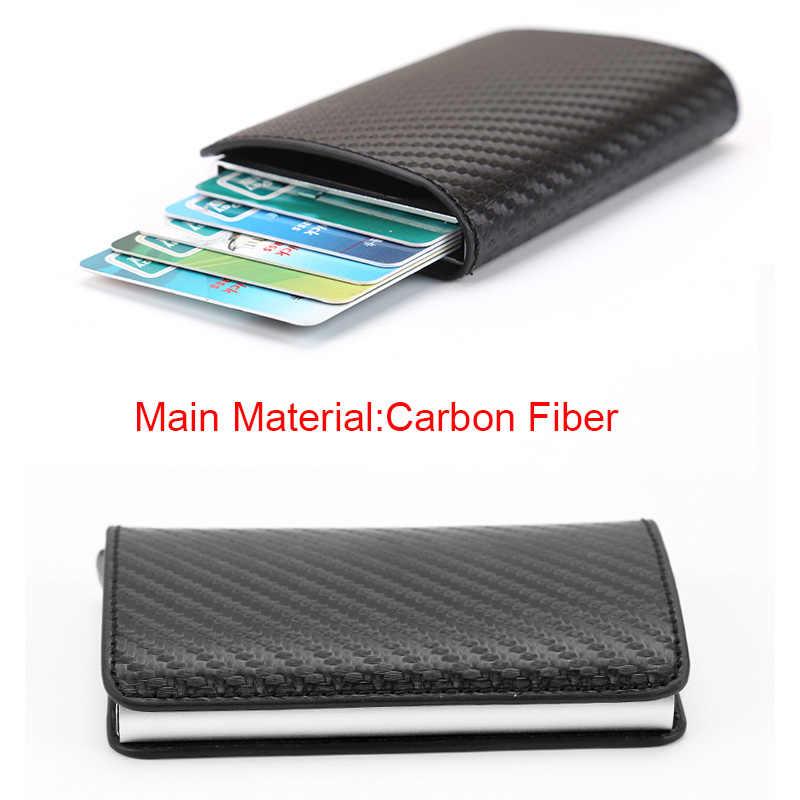 Анти вор Rfid кредитный id держатель для карт тонкий мужской минималистичный карбоновый металлический бумажник визитница сумка для кредитных карт Чехол Carteira Новинка