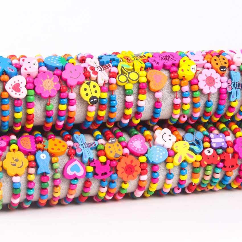 10 pezzi perline di legno colorate lotti misti braccialetti di legno legno bambino ragazza ragazzo bambini giocattoli regali bambino sacchetto del partito riempitori