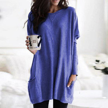 Long Sleeved Women Bottoming Shirt O Neck Pockets Solid Womens Tops And Blouses Casual Female Clothes Plus Size 5XL