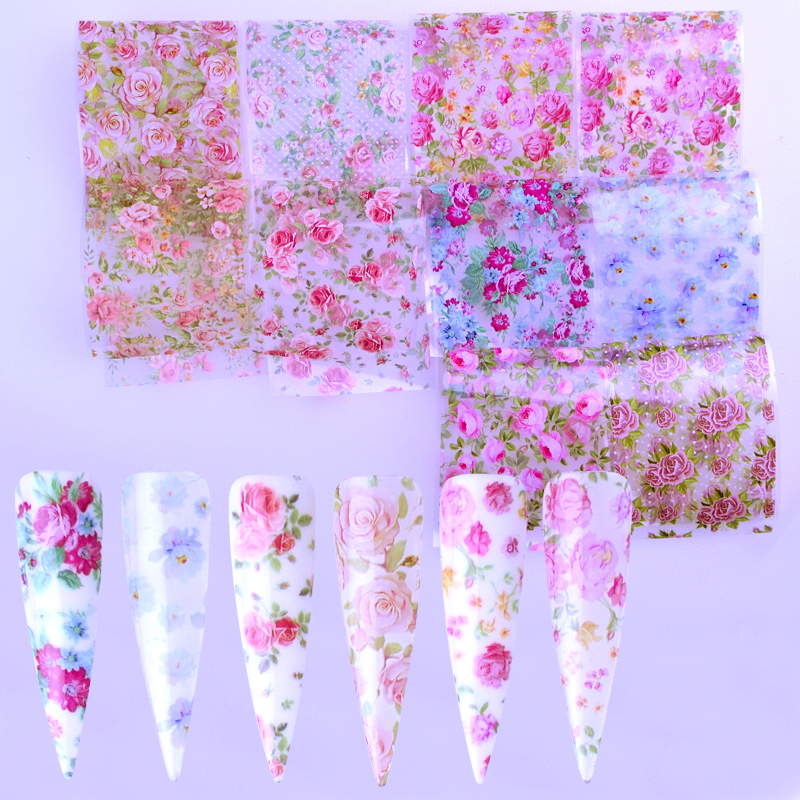 10pcs Colorful Flowers Stickers On Nails Foil Transfer Starry Sky Summer Sliders For Manicure Nail Art Decals Decoration
