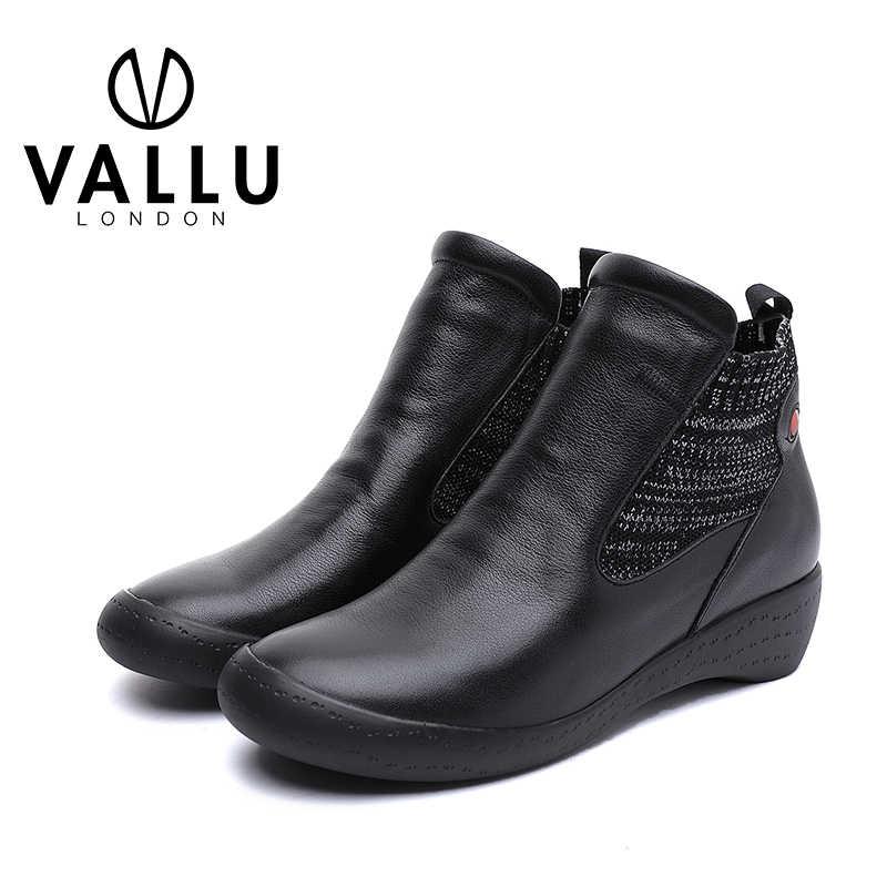 2019 VALLU kış kadın ayakkabı yarım çizmeler yuvarlak ayak kadın kısa patik hakiki deri el yapımı bayan konfor ayakkabı
