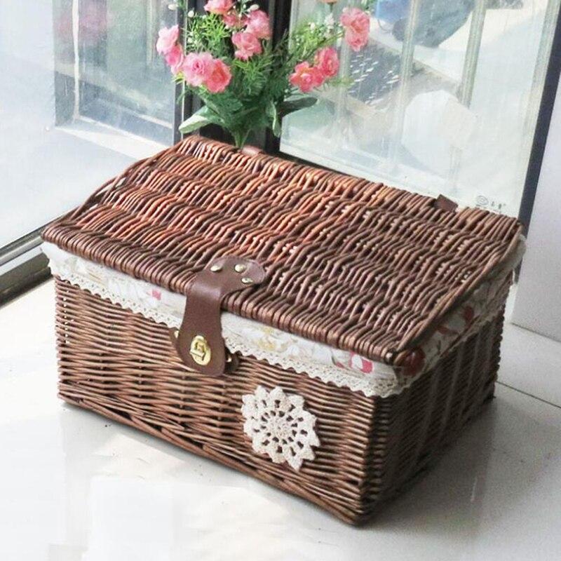 Boîte de rangement en osier maison panier de rangement en osier boîte de rangement avec couvercle boîte de rangement vêtements
