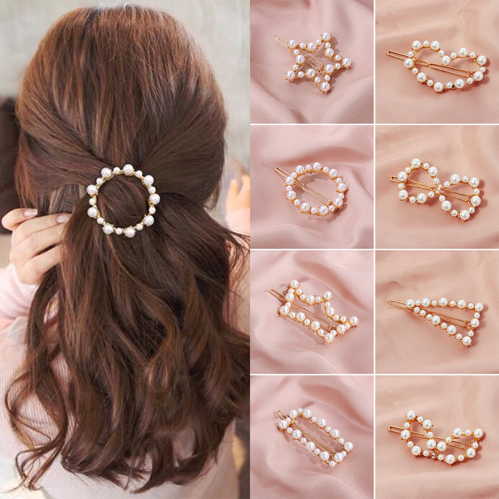 1PC NEW Fashion Geometric Irregular Hollow Pearls Hair Clips Korean Hairpins Metal Barrettes Girls Hair Styling Accessories