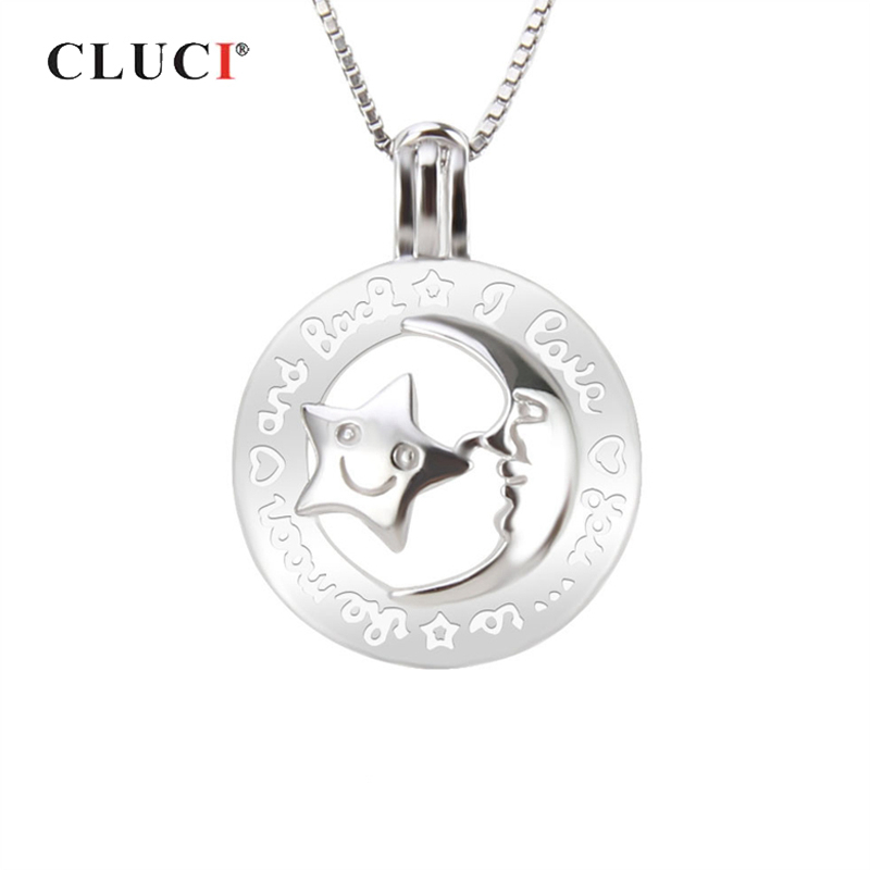 CLUCI 925 Sterling Silver Moon And Star Cage Pendant Jewelry For Mothers' Day Gift Women Silver 925 Pearl Cage Pendant
