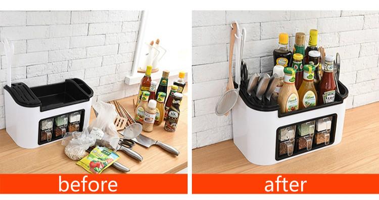 Multi-Function Spice Box Rack Seasoning Bottle Storage Box Kitchen Brush Jar Spoon Organizer Holder Case Plastic Kitchen Supplies