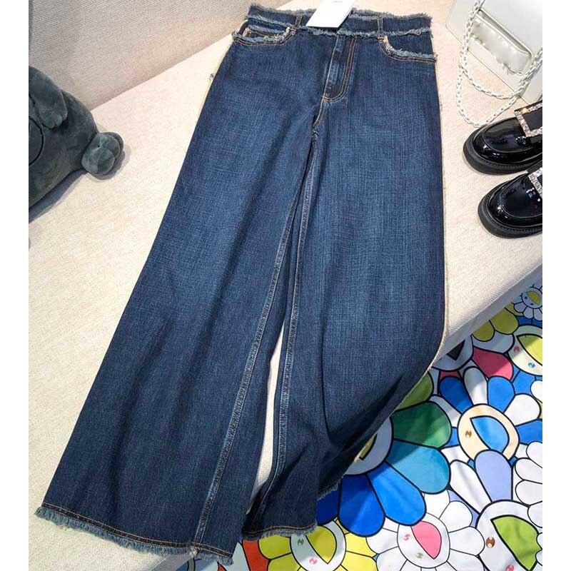 Cosmicchic 2019 модные высококачественные осенние и зимние джинсы для женщин, широкие штаны с высокой талией, свободные прямые штаны