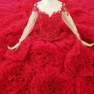 Image 5 - HTL1280 高級光沢のある女性の日のドレス o ネック長袖レースアップバックレッドレース婚約とロングドレスロングトレイン