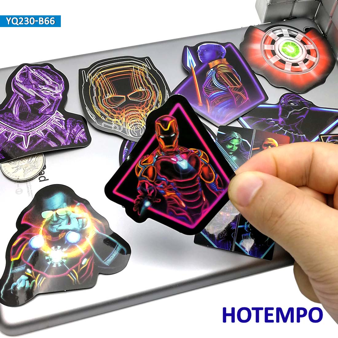 66pcs Neon Super Hero Avengers Led Light Style Fashion Stickers For Mobile Phone Laptop Luggage Case Skateboard Bike Art Sticker