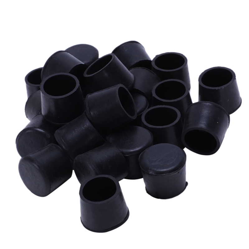 24 Pieces 25mm Black Round Rubber Leg Foot Lid Holder For Furniture Chairs Table