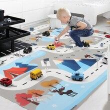 ¡Nuevo! Alfombrillas nórdicas de 130X100 CM para coches de juguete con diseño de nieve, alfombrilla para zona de juegos para niños, alfombrilla para Mapa de ruta urbano, Juego plegable para aparcar edificios